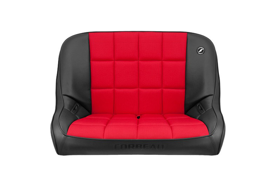 Corbeau Baja Bench 40in Black Vinyl Red Cloth (Part Number:64017)