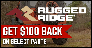 Rugged Ridge one hundred dollars back on select parts sale
